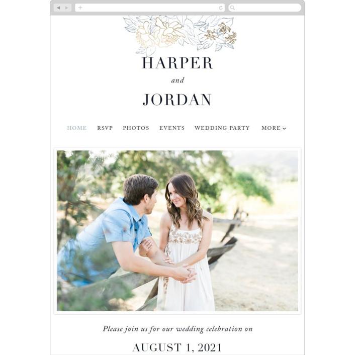 """Lush Garden"" - Wedding Websites in Cobalt by Qing Ji."