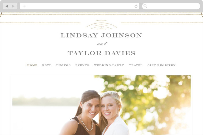"""Gilded Gala"" - Wedding Websites in Mist by Kristen Smith."