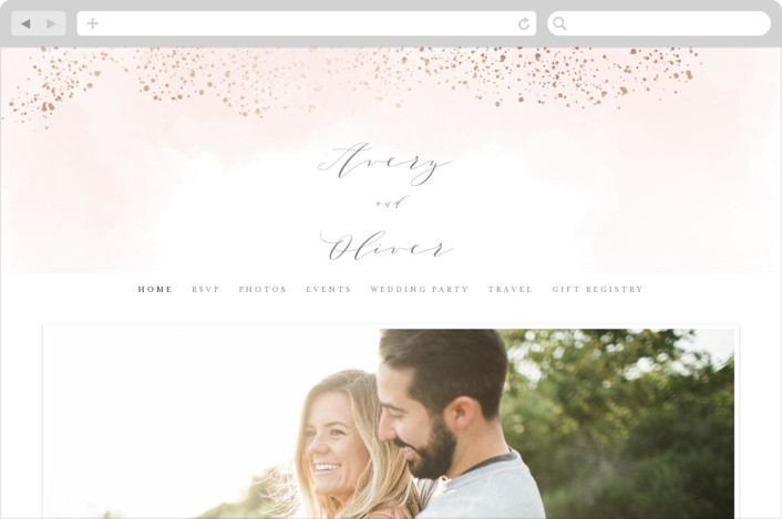 This is a pink wedding website by Kristie Kern called Sparkling Champagne printing on digital paper.