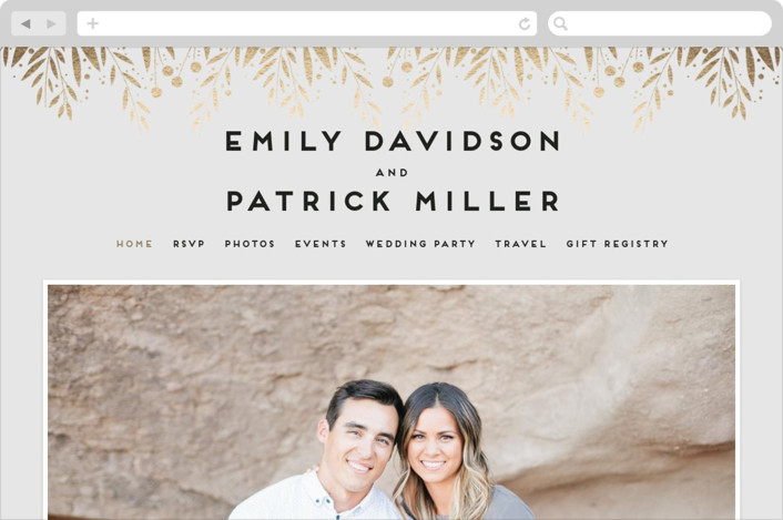 """Garden Foliage"" - Wedding Websites in Cool Grey by Anupama."