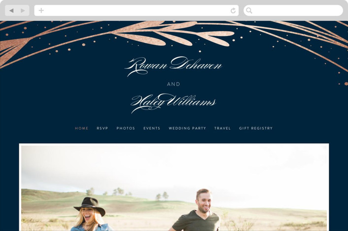 This is a blue wedding website by Bethany Anderson called Foiled Vines printing on digital paper.
