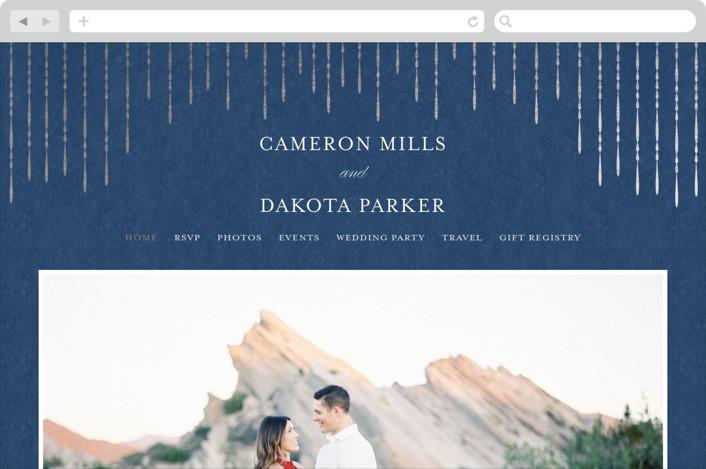 This is a blue wedding website by Lehan Veenker called Chandy printing on digital paper.