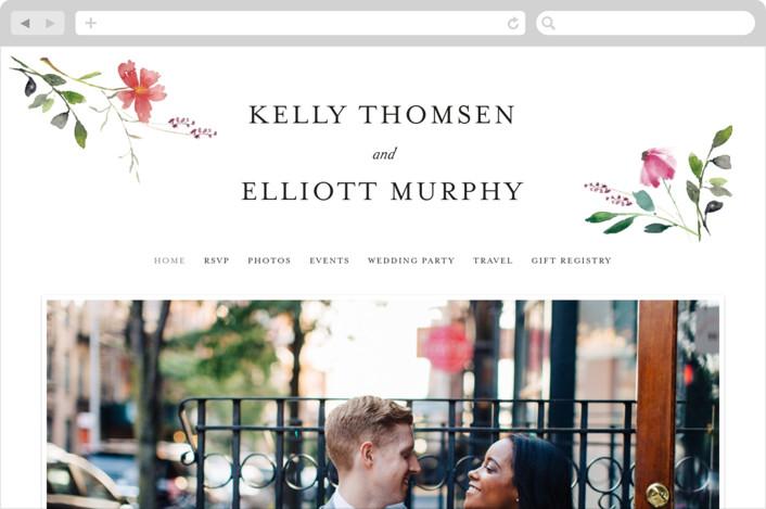 """Spring Wildflowers"" - Wedding Websites in Pink Floral by Mere Paper."