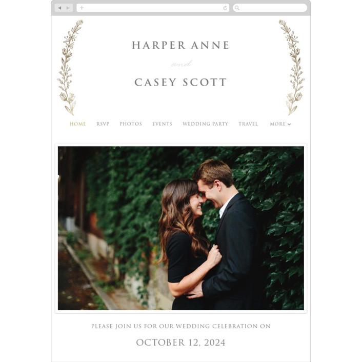 """""""Gilded Laurels"""" - Wedding Websites in Gold by Rochelle Renee."""