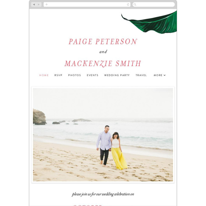 """""""Mod Palm"""" - Wedding Websites in Pearl by Fig and Cotton."""
