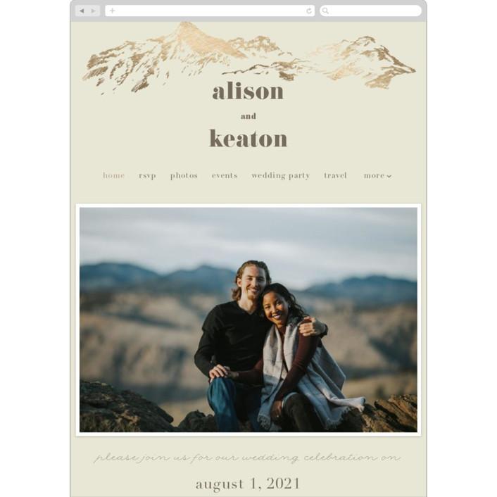 """Mountain Side Sketch"" - Wedding Websites in Cream by Jessie Steury."