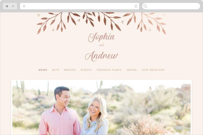 """Vineyard"" - Vintage Wedding Websites in Blush by Tennie and Co.."