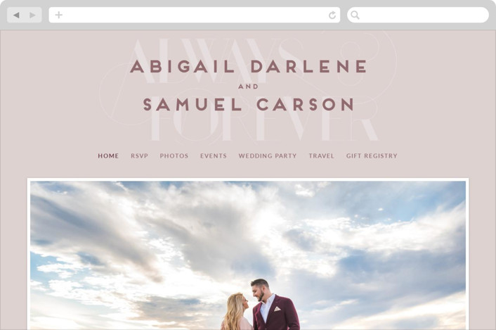 This is a red wedding website by Simona Camp called Always Shine printing on digital paper.