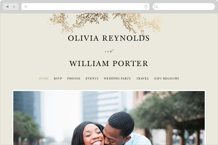 """""""Olivia"""" - Wedding Websites in Taupe by Hannah Williams."""