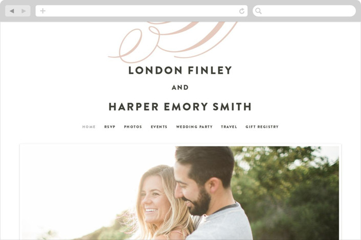 """Twirl Monogram B"" - Wedding Websites in Blush by Ariel Rutland."