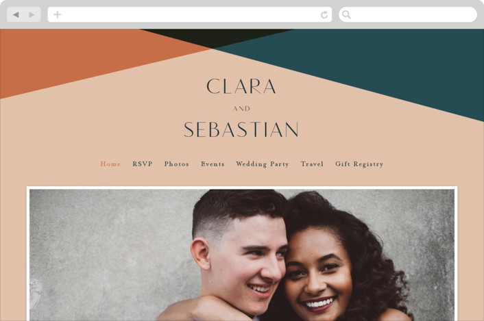 This is a orange wedding website by Morgan Kendall called Bold Geometric printing on digital paper.
