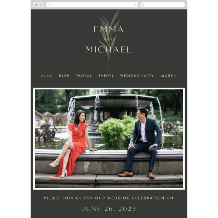 """Modern Leaves"" - Wedding Websites in Smoked by Four Wet Feet Studio."
