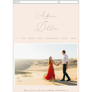 This is a pink wedding website by Smudge Design called EverAfter printing on digital paper.