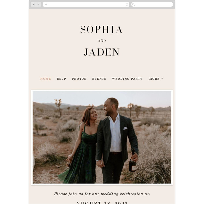 """Magazine Serif"" - Wedding Websites in Sand Dunes by Elly."