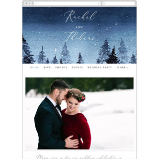 This is a blue wedding website by Anastasia Makarova called Let it Snow printing on digital paper.