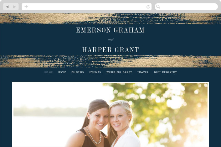 """Gold Leaf"" - Modern Wedding Websites in Indigo by Kelly Schmidt."