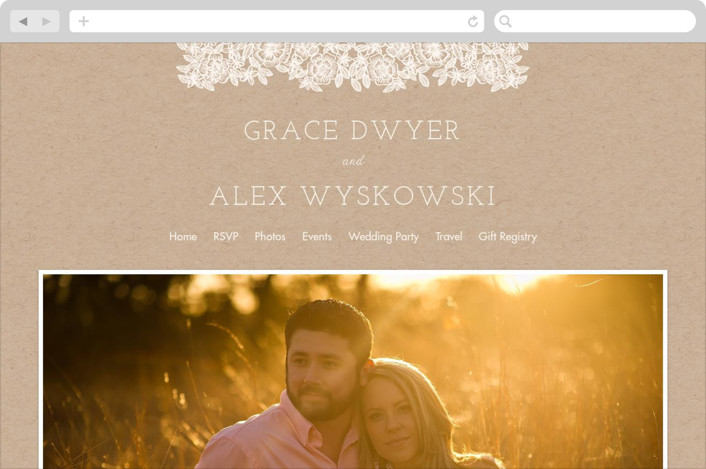 """Lace and Kraft"" - Wedding Websites in Kraft by Katharine Watson."