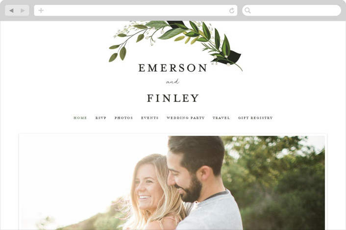 """Vines of Green"" - Wedding Websites in Fern by Susan Moyal."