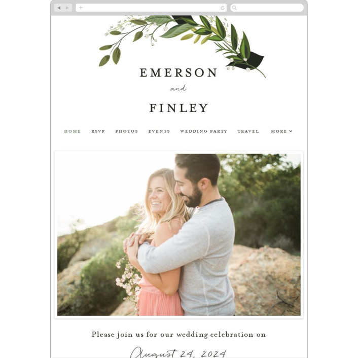 """Vines of Green"" - Wedding Websites in Fern by Susan Moyal."