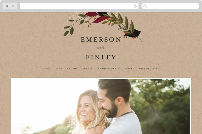 This is a beige wedding website by Susan Moyal called Vines of Green printing on digital paper.