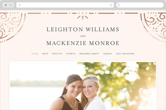 """""""Foil Frame"""" - Wedding Websites in Rose Gold by Bethan."""