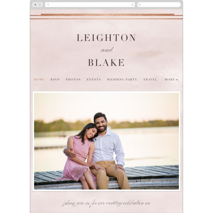 """Forever Elegant"" - Wedding Websites in Dusty Rose + Rose Gold by Hooray Creative."