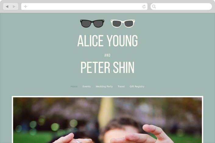 """Shades"" - Wedding Websites in Celadon by Olive and Violet."