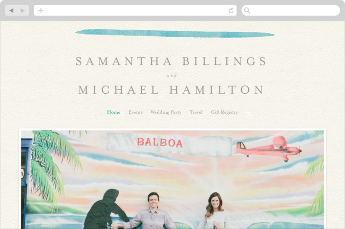 """Painted Simplicity"" - Wedding Websites in Turquoise by Laura Bolter Design."