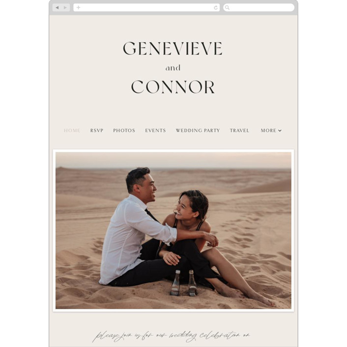"""Genevieve"" - Wedding Websites in Cream by Sandra Picco Design."