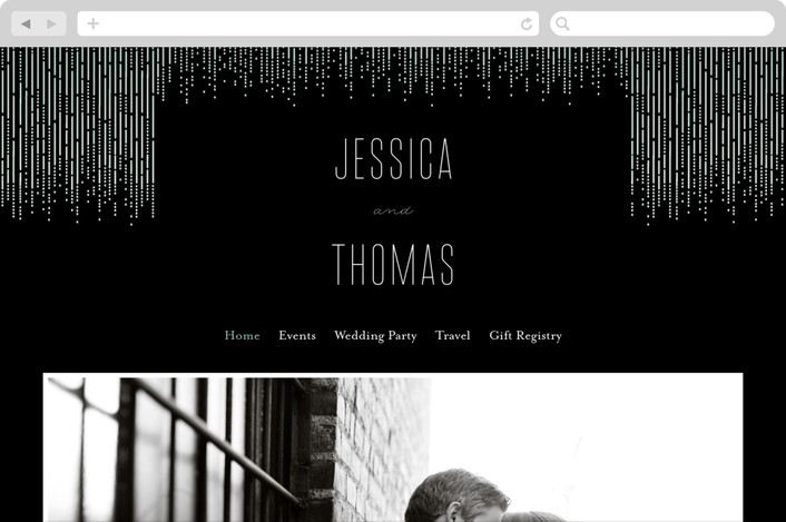 """Crystal Curtain"" - Wedding Websites in Noir by Rebecca Bowen."