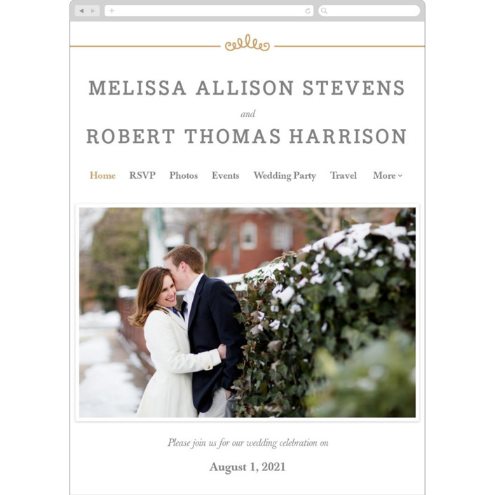 """Ornate Monogram"" - Wedding Websites in Faux Gold by Kristen Smith."