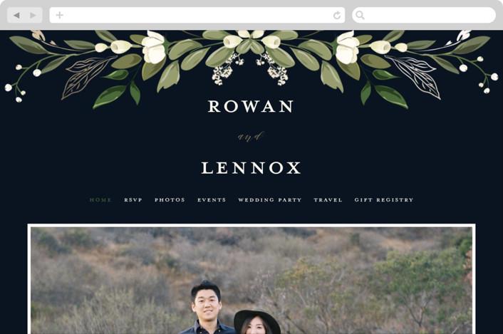 """""""Greenery Crown"""" - Wedding Websites in Navy by Susan Moyal."""