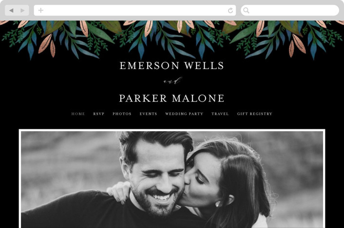 This is a black wedding website by Lehan Veenker called Verdure printing on digital paper.