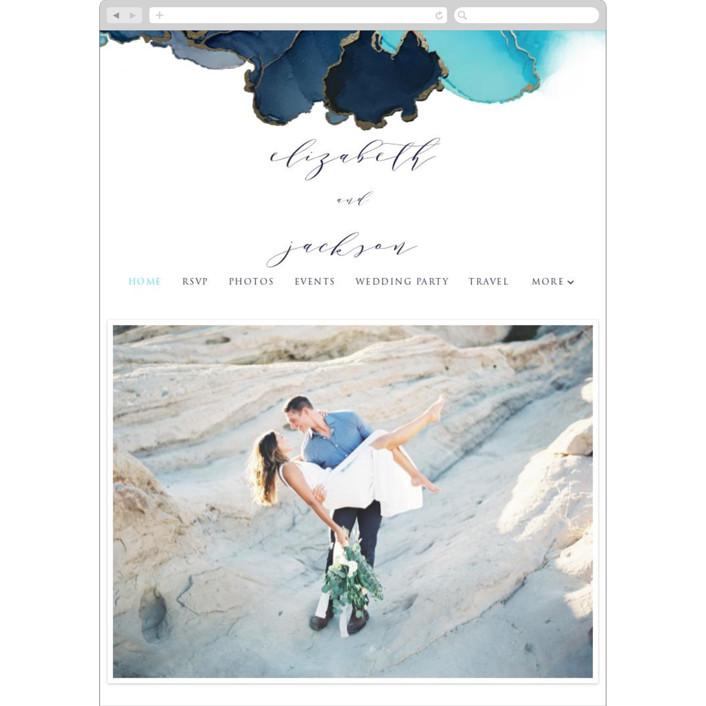 """""""Modern Tide Pools"""" - Wedding Websites in Turquoise by Erin Deegan."""