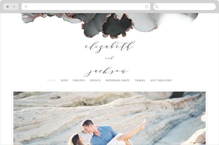 This is a black wedding website by Erin Deegan called Modern Tide Pools printing on digital paper.