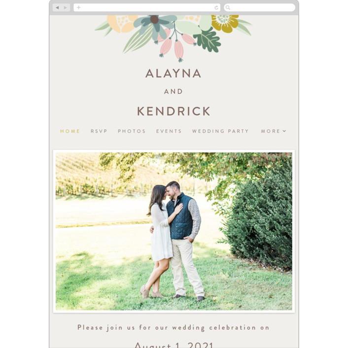 """Floral Ampersand"" - Wedding Websites in Mustard by Johanna McShan."
