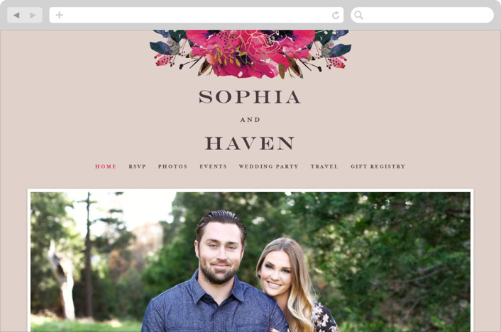 This is a beige wedding website by Lori Wemple called Blooming Beauty printing on digital paper.