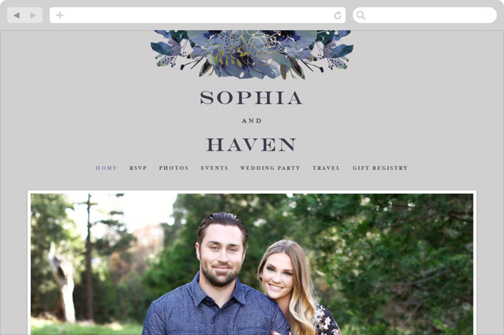 This is a colorful wedding website by Lori Wemple called Blooming Beauty printing on digital paper.