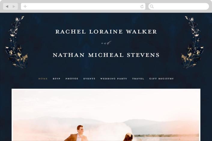 """""""Midnight Vines"""" - Rustic Wedding Websites in Navy by Grace Kreinbrink."""