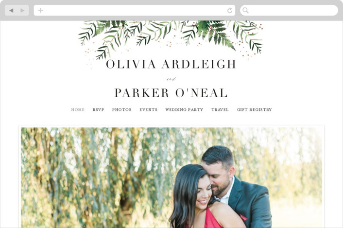 This is a pink wedding website by Kristie Kern called Framed in Ferns printing on digital paper.