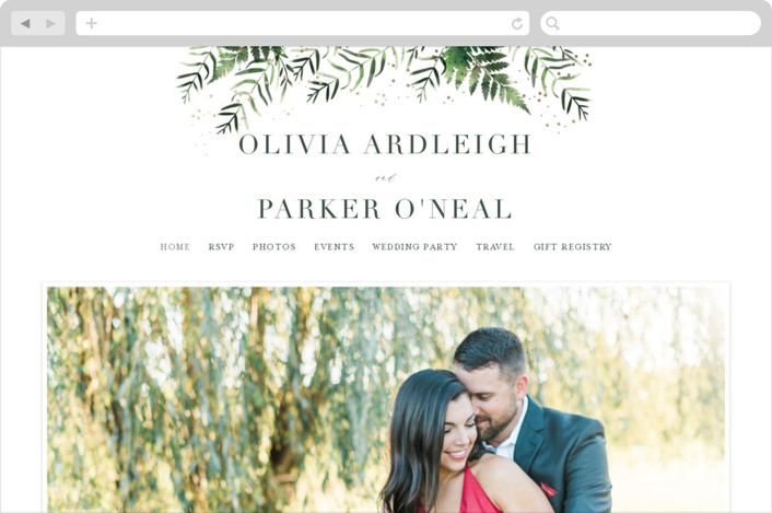 This is a gold wedding website by Kristie Kern called Framed in Ferns printing on digital paper.