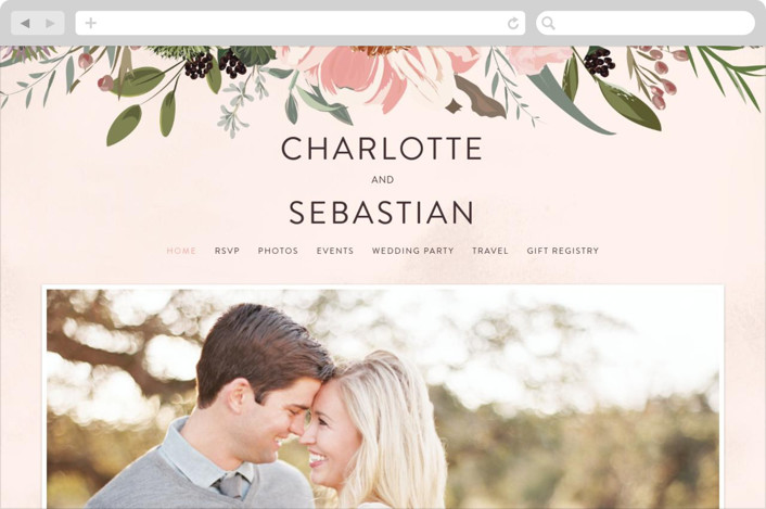 """Desert Blooms"" - Wedding Websites in Blush by Susan Moyal."