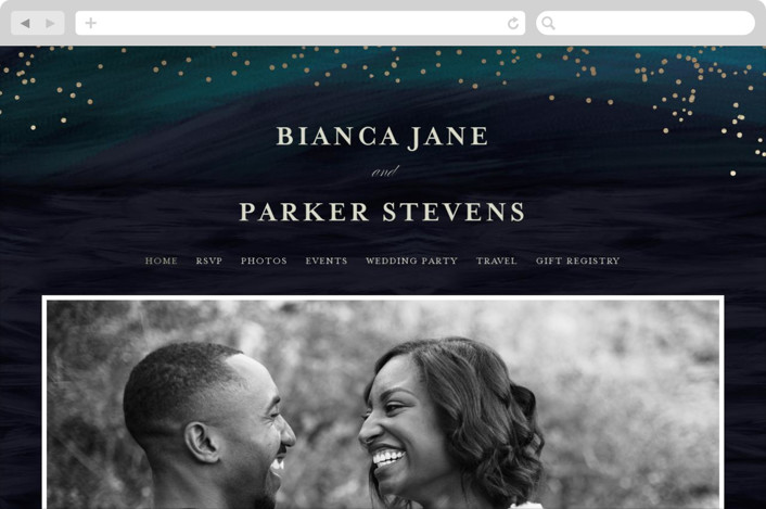 This is a blue wedding website by chocomocacino called borealis printing on digital paper.