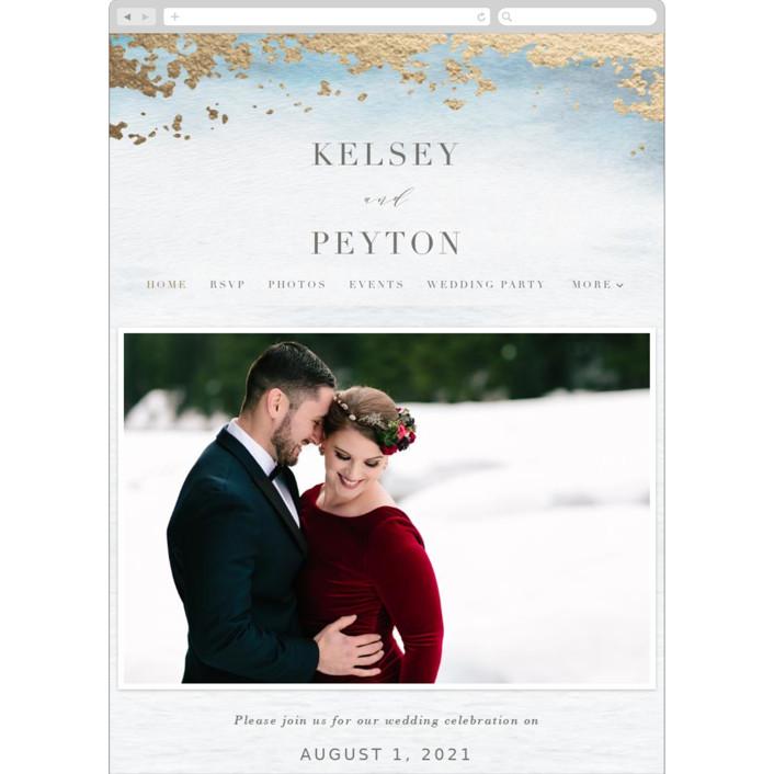 """Ethereal Wash"" - Wedding Websites in Ocean by Everett Paper Goods."