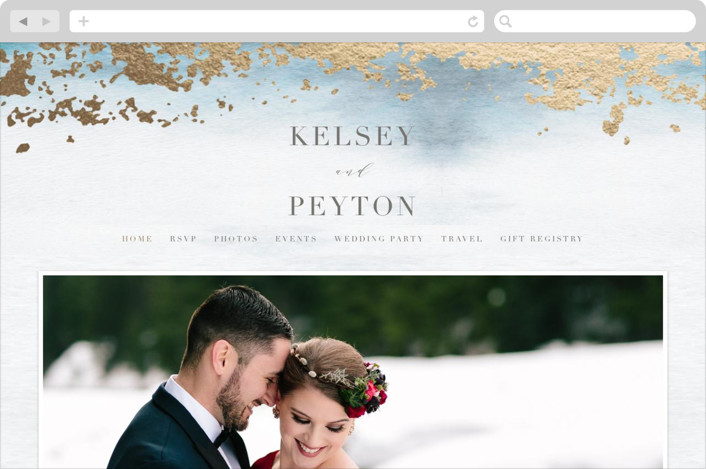 This is a blue wedding website by Everett Paper Goods called Ethereal Wash printing on digital paper.