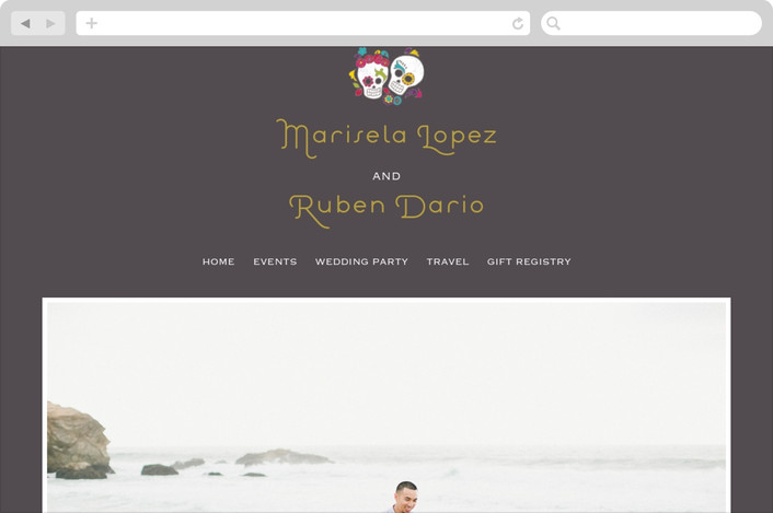 """Dia de los Muertos"" - Whimsical & Funny Wedding Websites in Slate by Inky Livie."