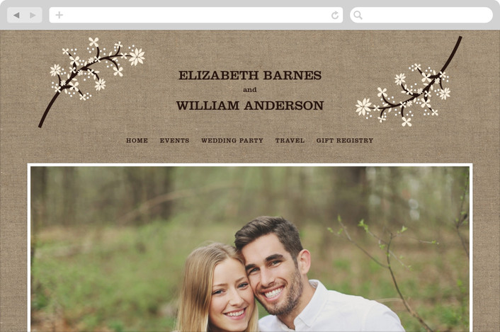"""Burlap Bliss"" - Floral & Botanical, Rustic Wedding Websites in Burlap by Beth Schneider."