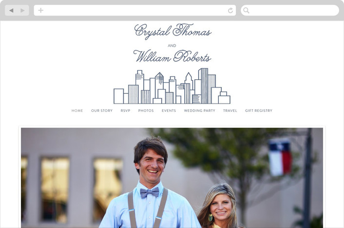 """""""Cityscape"""" - Destination, Modern Wedding Websites in Navy by Jessie Steury."""