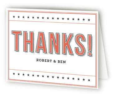 Bold Cheers Label Anniversary Party Thank You Cards