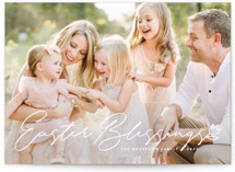 This is a white easter photo card by Guess What Design Studio called easter blessings script printing on smooth signature.